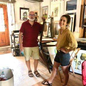 Alain Hurstel und ich an der Sternenpresse in seinem Atelier